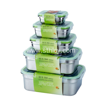 Rectangular Airtight Lunch Box Stainless Steel Container Set