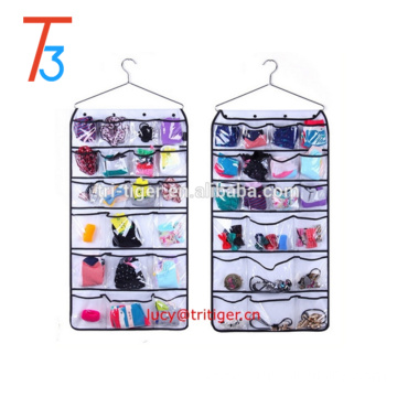 Hanging Closet Organizer With Metal Hanger Dual-sided 42 transparent Pockets for Underwear,Bra, Gloves, Socks, Ties Storage