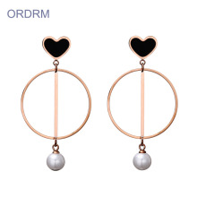 New Fashion Design for Gold Hoop Earrings Love Heart Faux Pearl Dangle Hoop Earrings supply to Japan Wholesale