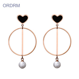 Love Heart Faux Pearl Dangle Hoop Earrings