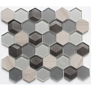 Marble & Glass Mosaic With Austere Pattern