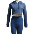 Blue Crop Top Running Hoodie For Women
