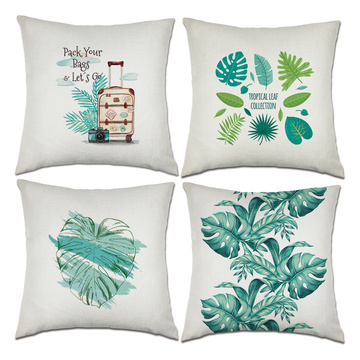 Set of 4 Tropical Throw Pillow Covers Green Leaves Decorative Cushion Cover Palms Pillow Case for Sofa Bedroom Car Couch 18 x 18