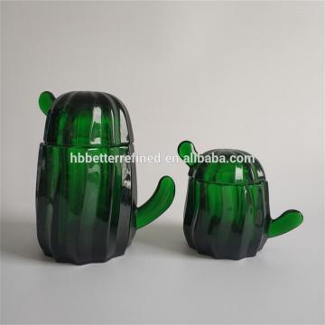 Elegant Green Glass Cactus Cookie Jar Set