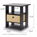 Rounded edge design oak wooden black color bedside table