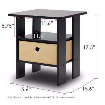 OEM/ODM for Bedroom Nightstands,Bedside Cabinets,Modern Nightstands Manufacturers and Suppliers in China Espresso brown Table Bedroom Night Stand with non-woven bins export to Bahrain Wholesale