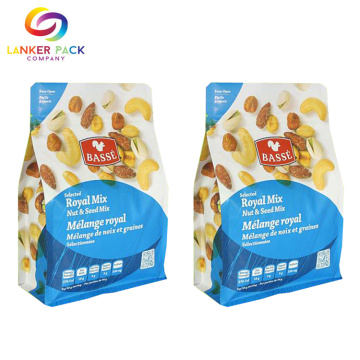 Laminated Material Nuts Packaging Flat Bottom Pouch