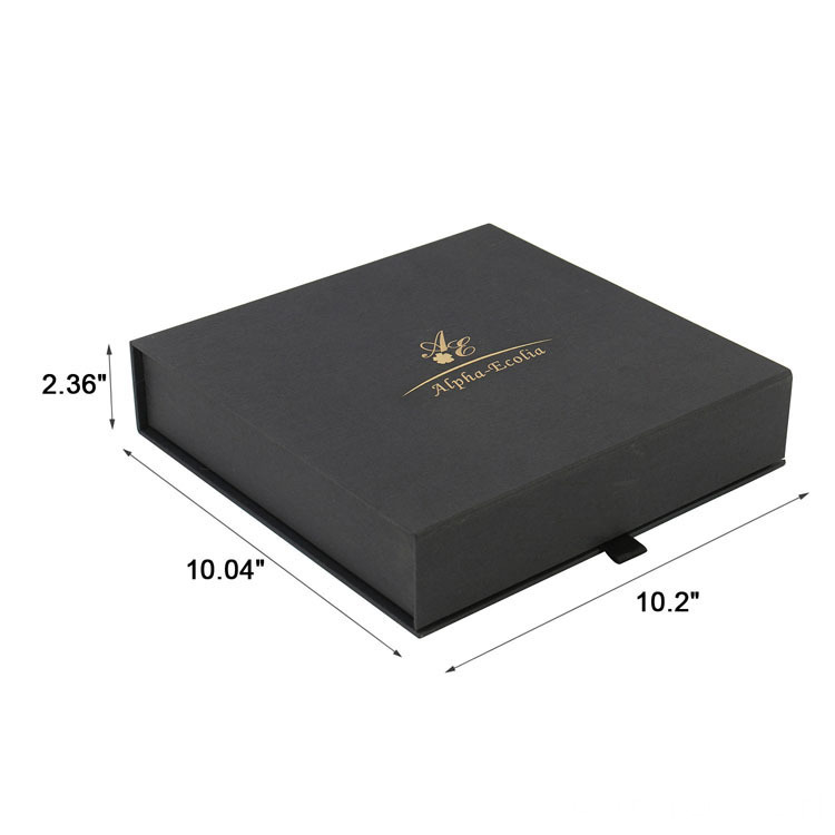 Customized Cardboard Book Shaped Black Paper Packaging Box
