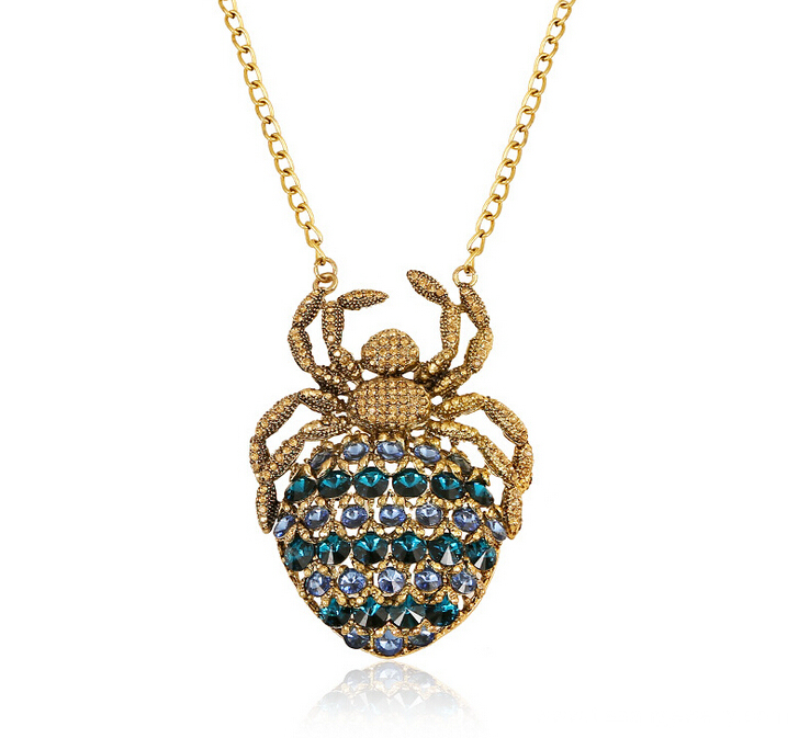 Antique Gold Plated Spider Women Necklace Pendant