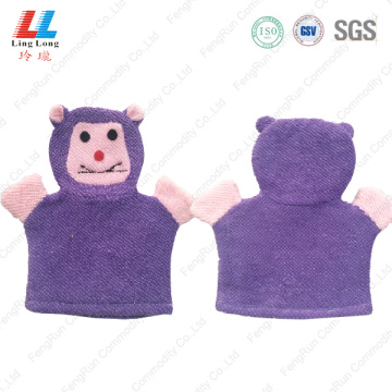 Smooth fizzy children bath gloves