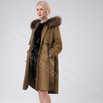 Spain Merino Shearling Overcoat With Motif For Lady