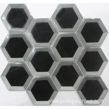 Silver and Black Hexagon cold spraying Mosaic