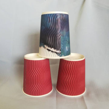 Ripple Kraft Paper Coffee Cups Double Wall 10OZ