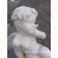 Pure white marble angle statue