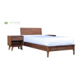 Full Solid Wood Single Bed with Night Stand