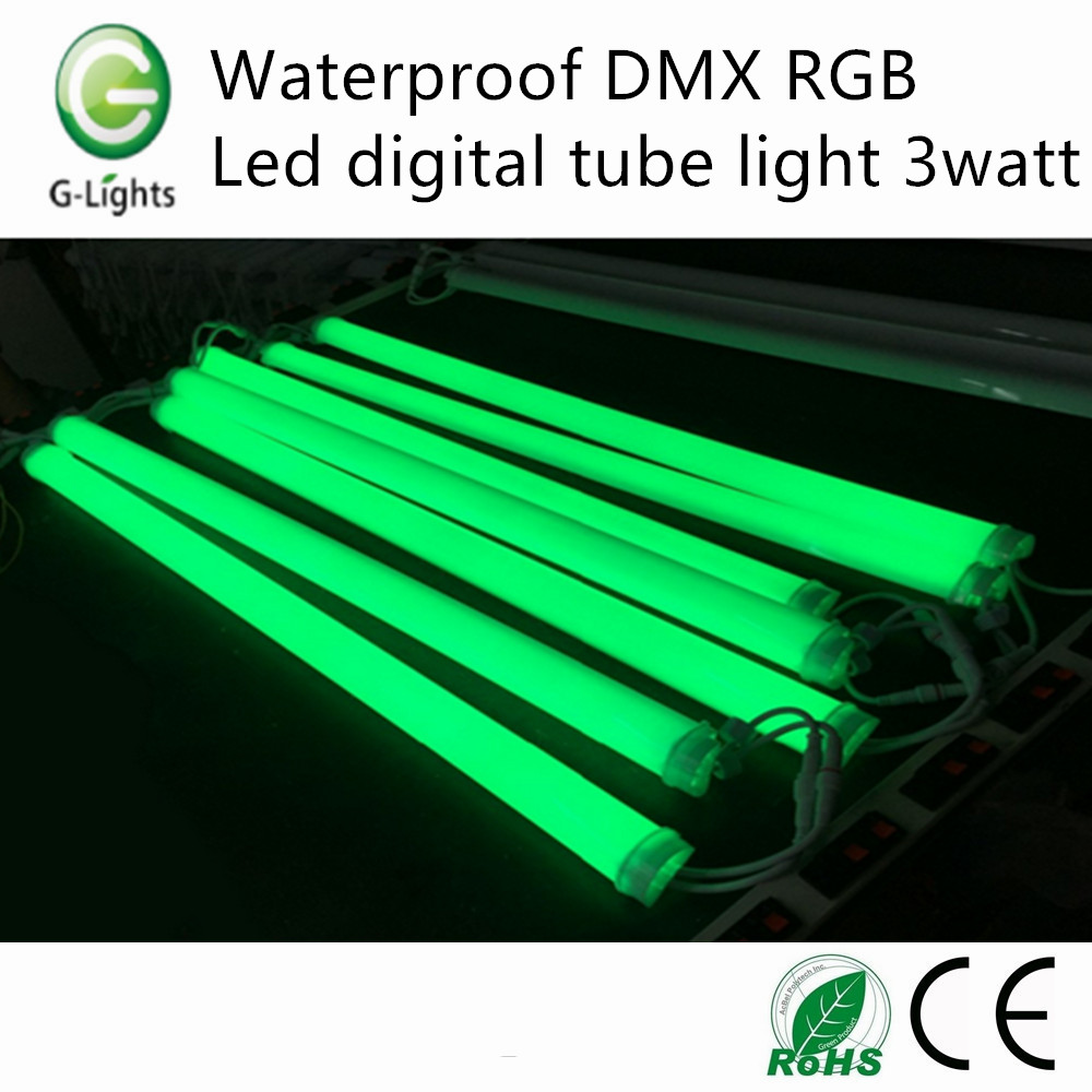 Waterproof DMX RGB led digital tube light 3watt