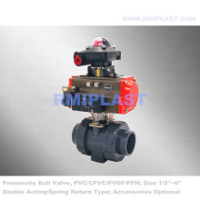 PVDF Pneumatic Ball Valve Double Acting Spring Return