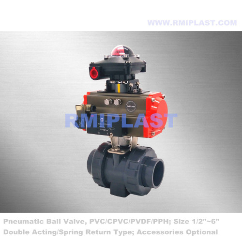 PVC Pneumatic Ball Valve Spring Return Type