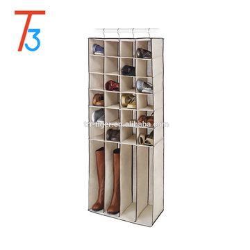 Multi-purpose foldable hanging shoes and boots organizer with 28 pockets