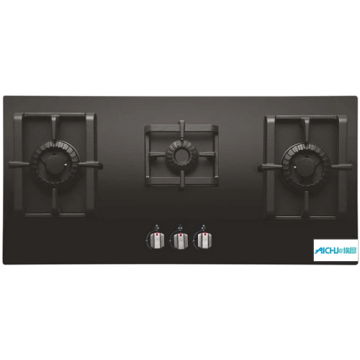 Elica Black Glass 3 Burner Built-in Hob Cooktop