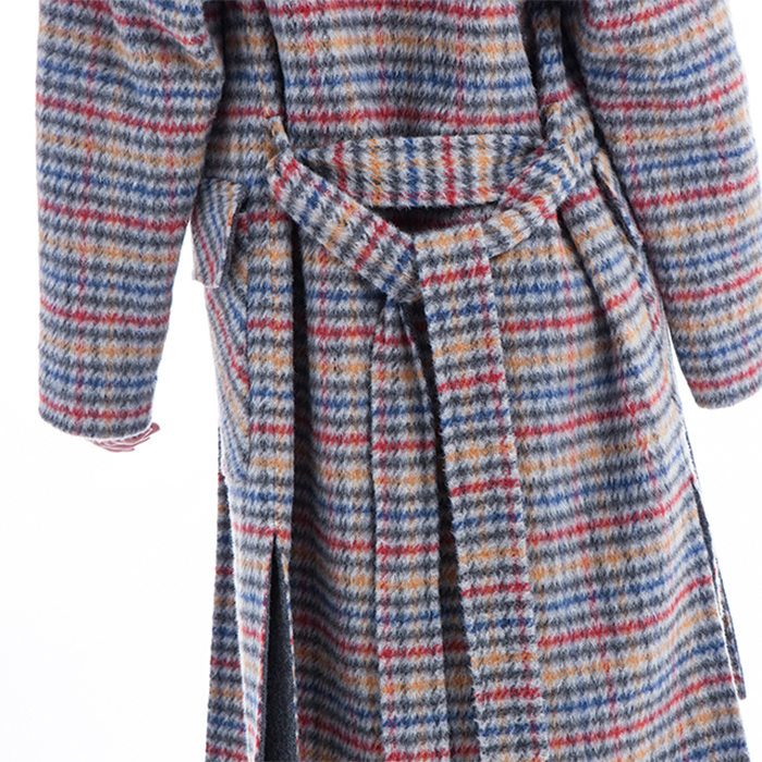 Coloured Plaid Oh cashmere overcoat back