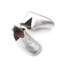 Silvery Leather Winter Baby Kids Chelsea Boots