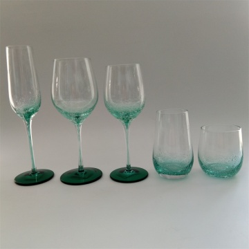 Drop color stem wine glass drinking set