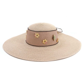 Cheap beach paper straw hat with custom flower