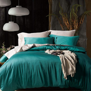 Poly/cotton 600TC Turquoise sateen duvet cover
