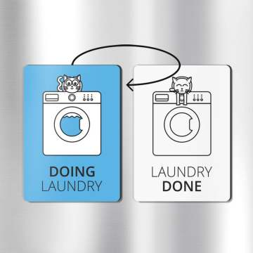 Reversible clean dirty laundry magnet
