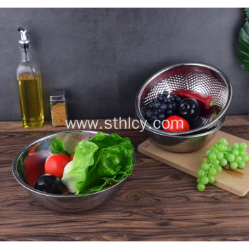 Thickened Stainless Steel Rice Sieve Three Pieces Set