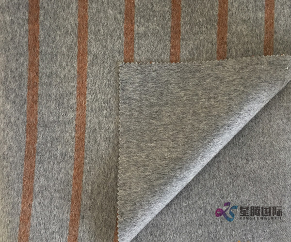 Bothe Sides of Brown Stripe 100% Wool Fabric