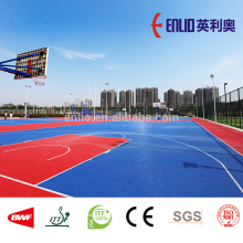 Enlio outdoor basketball court tiles with FIBA
