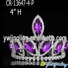 4 inch mini  purple rhinestone pageant crowns