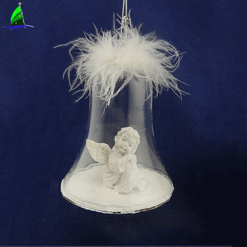 Christmas ball ornament with resin angel wings