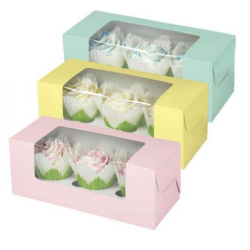 wholesale personalized custom fancy window paper cupcake box