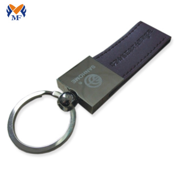 Custom black leather keychain with logo