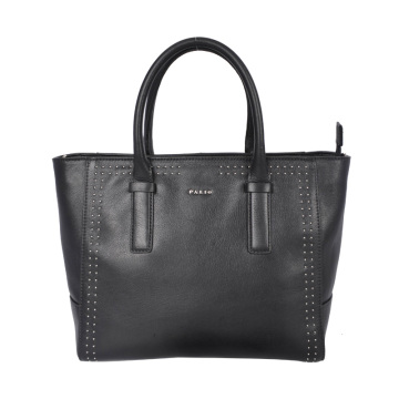 Large Leather Multi-Purpose Open Tote Black Bag
