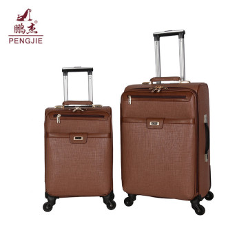 New zipper 4 wheels PU soft luggage bag