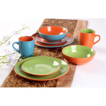Stoneware 2-tone Color Dinner Set