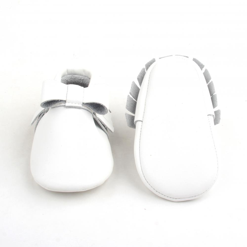 Sweet White Leather Baby Bow-knot With Tassel Moccasins