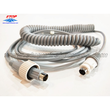 Customized for Medical Wire Harness coiled cable with DIN connectors for medical machine supply to Japan Importers
