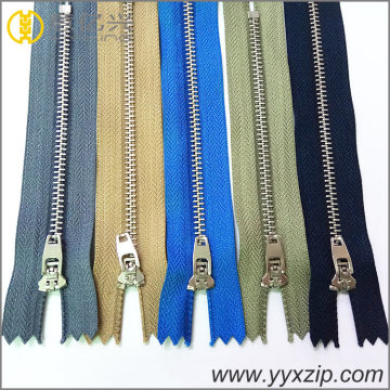 brass material plated silver teeth metal zipper