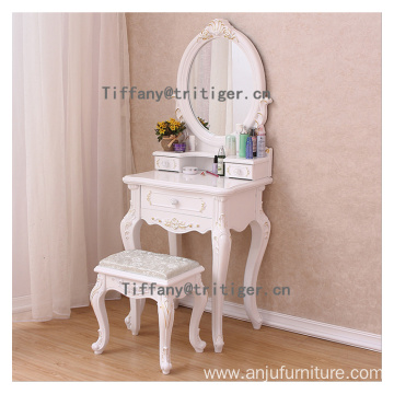 European style girl white dressing table wooden bedroom dresser