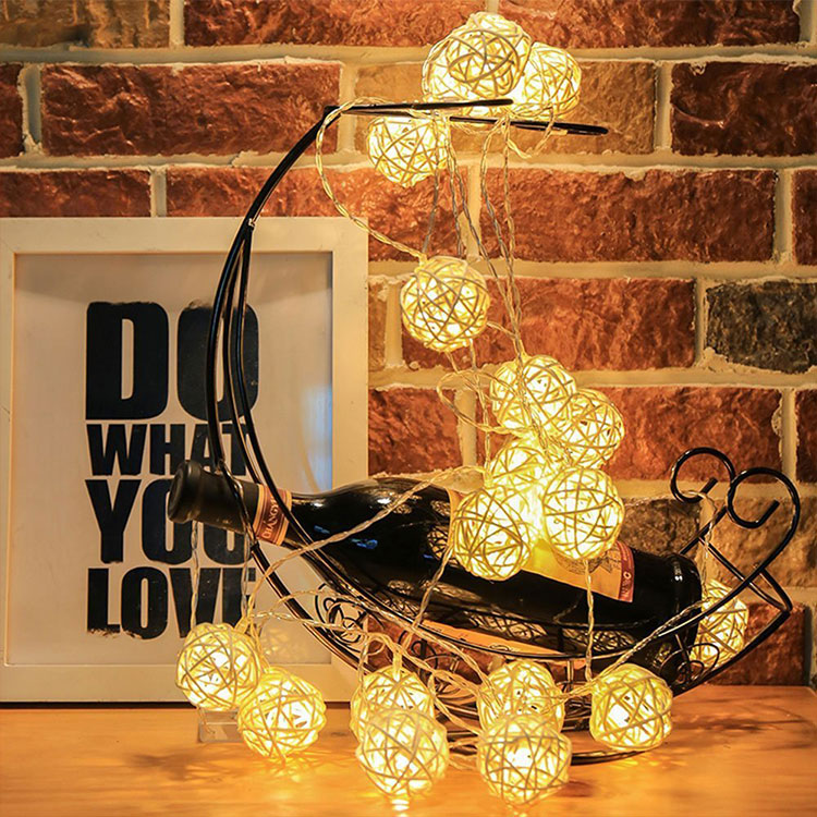 rattan ball led christmas string light