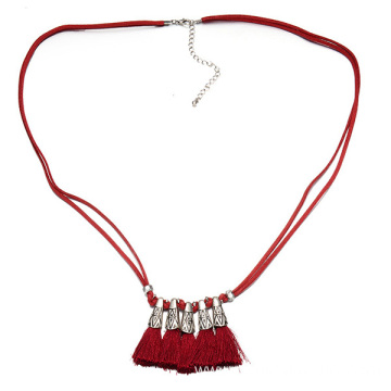 OEM manufacturer custom for Black Pu Leather Tassel Leather Cord Necklace Alloy Tassel Necklaces For Women supply to Congo Factory