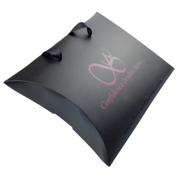 Black UV Paper Pillow Box With Handle