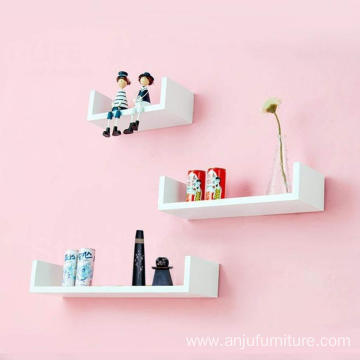 3 Piece U Shape MDF Wall Shelf, White