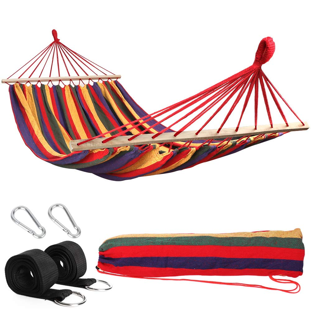 Hammock With Wooden Spread Bars