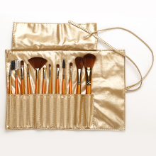 Gold  PU Bag With Make Up Brushes